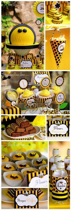 Bumble Bee Birthday Party Package Personalized FULL by leelaaloo, $35.00