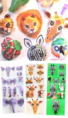Make your favourite animal mask! Easy printable animal mask templates at happyth. Animal Mask Templates, Printable Animal Masks, Elephant Costumes, Animal Costumes, Animal Masks For Kids, Mask For Kids, Musical Rey Leon, Lion King Animals, Zebra Mask
