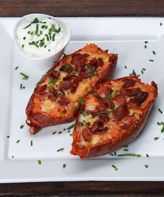 Loaded Sweet Potato Skins- total pain in the butt but worth it and very good! Sweet Potato Skins, Loaded Sweet Potato, Sweet Potato Recipes, Tasty Videos, Food Videos, Real Food Recipes, Cooking Recipes, Yummy Food, Healthy Snacks
