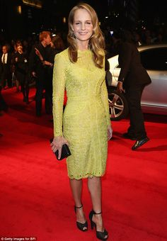 Lovely in lime: Helen Hunt showed off her perfect figure in a lime green lace dress as she attended the UK premiere of The Sessions