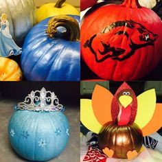 Painted Pumpkins Razorback, Cinderella, Frozen and a Turkey