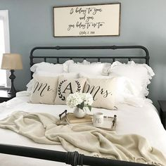 "11 Cute ""Just Married"" Items To Celebrate Your New Status As Mr. 11 Cute ""Just Married"" Items To Celebrate Your New Status As Mr. Pillows are the cutest home decor for newlyweds! Cozy Bedroom, Home Decor Bedroom, Bedroom Ideas, Parisian Bedroom, Master Bedroom, Serene Bedroom, Bedroom Modern, Bedroom Storage, Bedroom Designs"