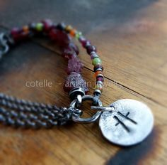 Rough Garnet Bracelet and Raw Sterling Silver  Artisan by COTELLE