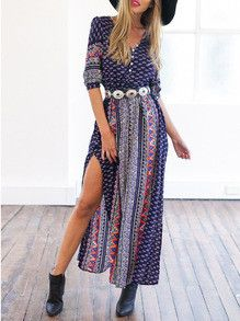 Gorgeous long maxi dress with sexy side split up the leg. Fabric :Fabric has no stretch Season :Fall Type :Shirt Pattern Type :Print Sleeve Length :Half Sleeve Color :Navy Dresses Length :Maxi Style :