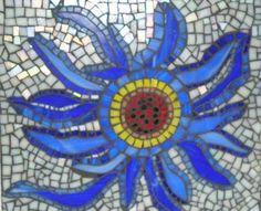 Wall Art - Blue Sun Flower - Mosaic
