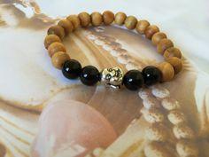 Black onyx healing yoga bracelet sandal wood by BeautifulShades