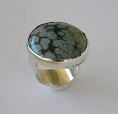Sterling Silver Cocktail Ring black grey gemstone by craftysou, $80.00