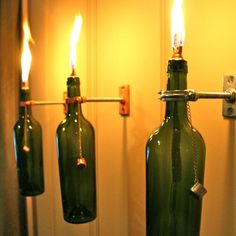 3 Wine Bottle Oil Lamps  INDOOR   Hanging by GreatBottlesofFire, awesome.