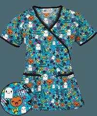 UA Sweet Halloween Turquoise Mock Wrap Scrub Top