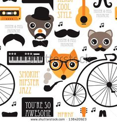 Seamless vintage hipster animal jazz music illustration background pattern in vector by Maaike Boot, via Shutterstock