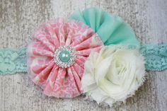 pink and aqua headband pink headband aqua by AddisInspiration, $9.95