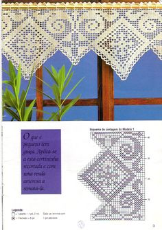 Filet crochet lace curtain chart