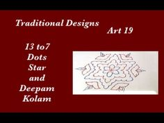 Dots Rangoli Art 19 - 13 to 7 interlaced dots Muggu - Star & Deepam Kola...