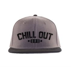 """Show off this clean and classic Flat Bill snapack hat with a """"Chill Out Bro"""" logo embroidered at the front. Play it cool with this urban friendly hat. This is an awesome mens hat for all occasions. Flat Bill Hats, Flat Hats, Vintage Baseball Caps, Baseball Hats, Dope Hats, Cute Beanies, Black Cowboys, Wearing A Hat, Girls Wear"""
