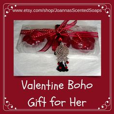 This unique luxury gift box is a cool and budget-friendly Valentine's Day gift idea to treat her to a present she'll love.  A Handmade Boho Gift Set for Women: Three Bordeaux wine color Flower Scented Glycerin Luxury Soaps with a lovely Handmade Silver-Red-Black Jewelry Necklace in the packaging. Handmade Clothes, Handmade Crafts, Unique Gifts, Best Gifts, Bordeaux Wine, Gift Sets For Women, Luxury Soap, Valentines Day Gifts For Her, Black Jewelry