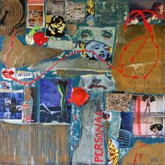 grand tableau collage r alis avec des papiers color s des cartons travaill s de la peinture. Black Bedroom Furniture Sets. Home Design Ideas