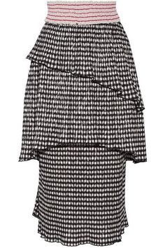 Rosie Assoulin - Mountain Range Gingham Seersucker Midi Skirt - Black - US