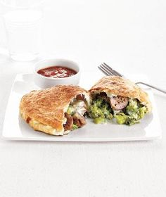 Calzones using refrigerated pizza dough