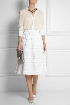J.Crew|Collection laser-cut poplin midi skirt|NET-A-PORTER.COM