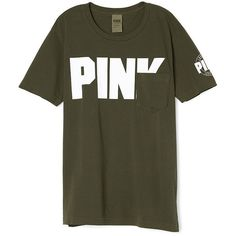 PINK Campus Short Sleeve Tee (1,605 DOP) ❤ liked on Polyvore featuring tops, t-shirts, short sleeve t shirts, pink top, oversized t shirt, oversized tee and cotton t shirts