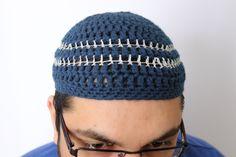 Ramadan/Eid Adult Kufi Hat, Striped Muslim Prayer Hat, Men's Kufi Hat, Striped kufi hat, Muslim kufi, striped muslim beanie, islamic kufi