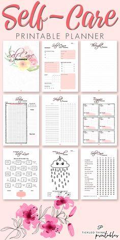 Self-Care Printable Planner + 2020 Planner - Tickled Think Printables Planner Stickers, Monthly Planner, Happy Planner, Food Planner, Printable Planner Pages, Planner Ideas, Free Printables, Routine Planner, Passion Planner