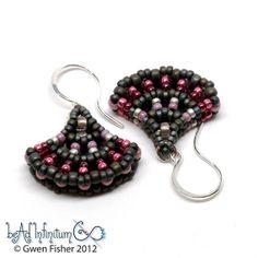 SALE25 Ginkgo Leaf Beaded Earrings Pink Gray Sterling by gwenbeads, $36.75
