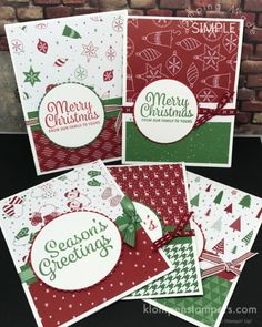 Quick & Easy Christmas cards using Be Merry DSP and Snowflake Sentiments from Stampin' UP!