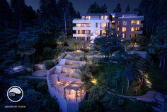 Romantické osvetlenie záhrad v noci Landscape Architecture, Public, Mansions, Space, Night, House Styles, Garden, Home Decor, Atelier