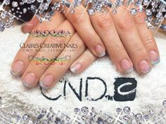 CND Shellac Alternative French Manicure using Grapefruit Sparkle with Silver Chrome and Silver Holographic Glitter Fade. By Claire's Creative Nails, Northampton. Call or text: 07752 397245 to book your appointment. #Shellac #Northampton #glitter #FrenchManicure #cnd #NailSalon