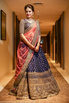 Sangeet Lehengas - Navy Blue Lehenga with Copper Big Border and Pink Dupatta Indian Bridal Outfits, Indian Bridal Lehenga, Indian Bridal Fashion, Pakistani Bridal Wear, Indian Designer Outfits, Indian Dresses, Bridal Dresses, Half Saree Lehenga, Blue Lehenga