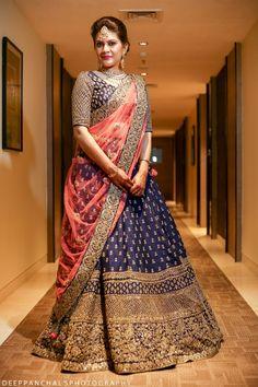 Sangeet Lehengas - Navy Blue Lehenga with Copper Big Border and Pink Dupatta | WedMeGood | #wedmegood #indianbride #indianwedding #lehenga