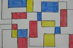 Easy Mondrian drawings... trace a cardboard template w/ black crayon making sure to overlap some squares then color in w/ primary colors