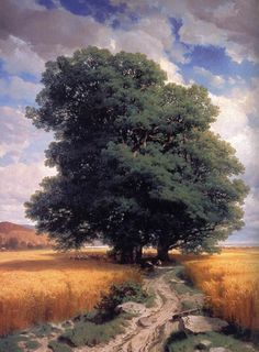 rjtyler:      CALAME, Alexandre    Swiss painter (b. 1810, Vevey, d. 1864, Menton)    Landscape with Oaks    1859    Oil on canvas, 173 x 140 cm    The Hermitage, St. Petersburg    Nineteenth-century Europeans were enthusiastic travelers who discovered for themselves the history and culture of the world. Yet they also devoted much attention to the countryside of their native lands. Freed from allegory and the goal of producing an integral image of the cosmos, the landscape took on a…