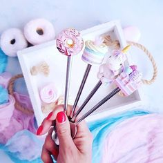 A set of 4 teaspoons hand made. Each of these spoons is made: a high quality scratch-proof factory made stainless steal spoon and handmade topping with cupcake and berries made of polymer clay. The handmade topping is made of polymer clay and baked at high temperature in special oven so