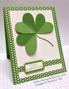 Handmade St Patrick's Day card - paper piercing give a unique look to this simple shamrock card.