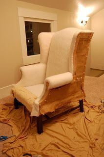 How to reupholster a wingback chair...  4 dining chairs and a wingback.. hmm.. do I dare??