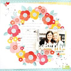Fussy cut patterned paper for this wreath layout.