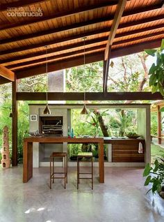 Summer style!! Summer kitchen! Modern outdoor kitchen - covered terrace! Wood with concrete and barbecue