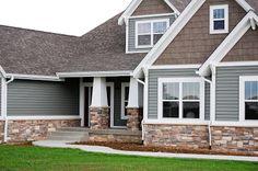 Ideas For Exterior House Siding Colors Vinyls Porches Exterior House Siding, Exterior House Colors, Exterior Design, Siding Colors For Houses, Gray Siding, Modern Exterior, Stone On House Exterior, Exterior Paint Colors For House With Stone, Gray Houses