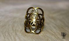 Röötz Sacred Geometry Ring, Brass Seed of Life Ring, Yoga Jewellery, Indian Ring, Bohemian Jewellery, Tribal Ring, Ethnic Jewellery, Brass