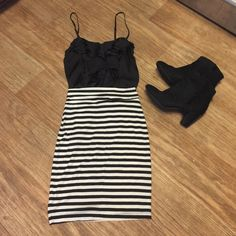 Skirt & top High waisted striped skirt & black ruffle top. Cute for work or play. Xs top small skirt Skirts