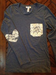 Lace Pocket Tee with Heart Patched Elbows on Etsy @ joycotton. Could DIY with a comfy shirt
