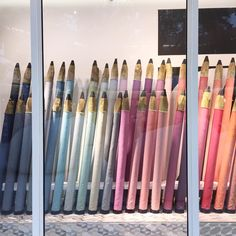 """Lucy Gough on Instagram: """"Cool fabric display in the @zimmerandrhode window at @designcentrech. #pencils #visualmerchandising"""""""
