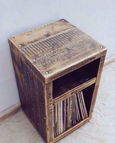 Do you need #storage for your #records, #books, or #magz?  #lifestylefurniture #pallet #repurposedwood #palletfurniture #carpentry #woodworking #wood #woodwhisperer #rustic #functionalart #TuMo_Wood