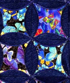 butterfly circle blue jeans quilt - denim quilt gallery - quilters recycle and use up old jeans