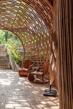 Outdoor Fun, Outdoor Sofa, Small Table And Chairs, Bamboo House Design, Wooden Bathtub, Small Boutique Hotels, Bamboo Building, Small Bungalow, Bamboo Structure