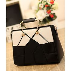 Dresswe.comサプライ品新入荷幾何学的なパズルの黒と白の女性のハンドバッグ ハンドバッグ