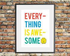 Typographic 'Everything is Awesome' Lego by HappyCotswoldPrintCo, £4.95 | | I actually want this cross stitched so I can hang it on my wall.