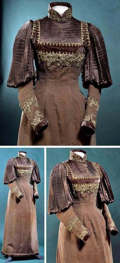 Circa 1892-1895 brown wool w/heavily ribbed weave. Princess cut w/long shaped panels and no waist seam. Boned bodice mounted on brown silk, upper part of sleeveless dress is brown velvet edged w/gilt braiding, also on Empire waist and skirt hem. Hem has velvet ruffle. British, via Victoria & Albert Museum.